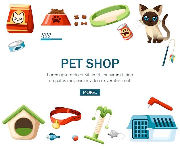 Accesorio para el cuidado de mascotas. iconos decorativos de la tienda de mascotas. accesorio para gatos. ilustración sobre fondo blanco. concepto de sitio web o publicidad. Vector Premium