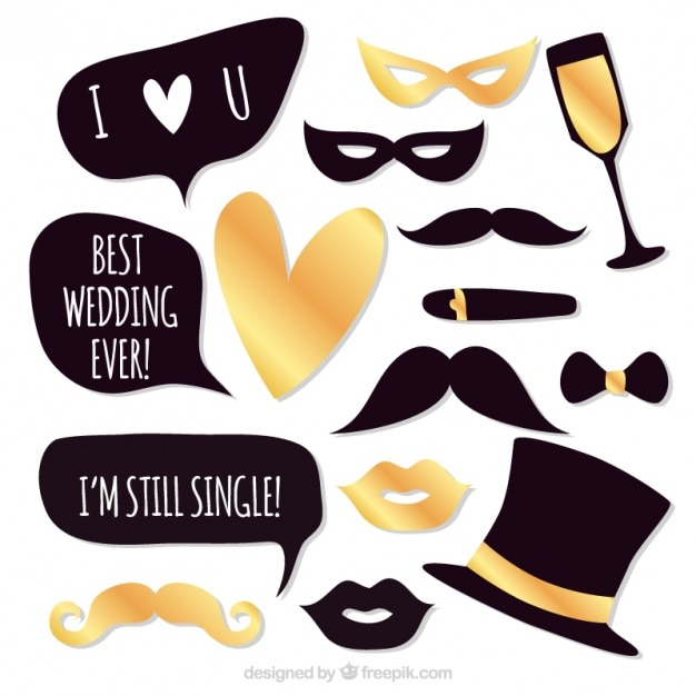 accesorios elegantes de fiesta para bodas vector gratis
