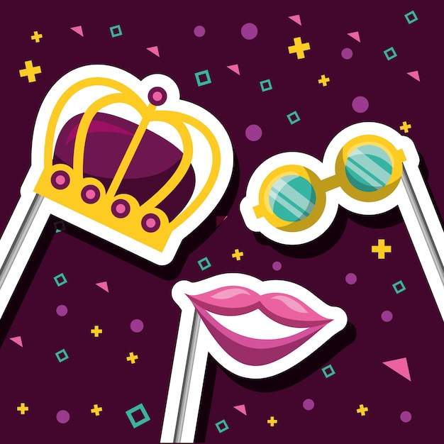 Accesorios del festival de carnaval vector gratuito