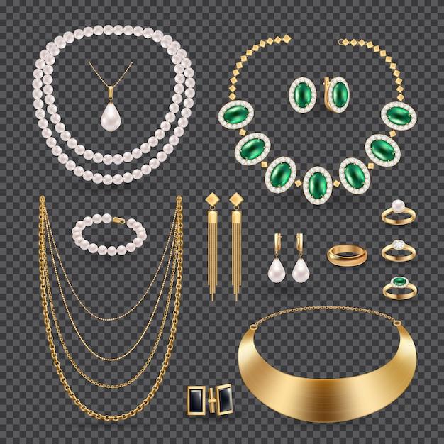 Accesorios de joyería realista conjunto transparente con anillos collar y aretes vector gratuito