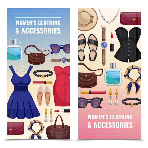 Accesorios de mujer conjunto de banner vertical vector gratuito