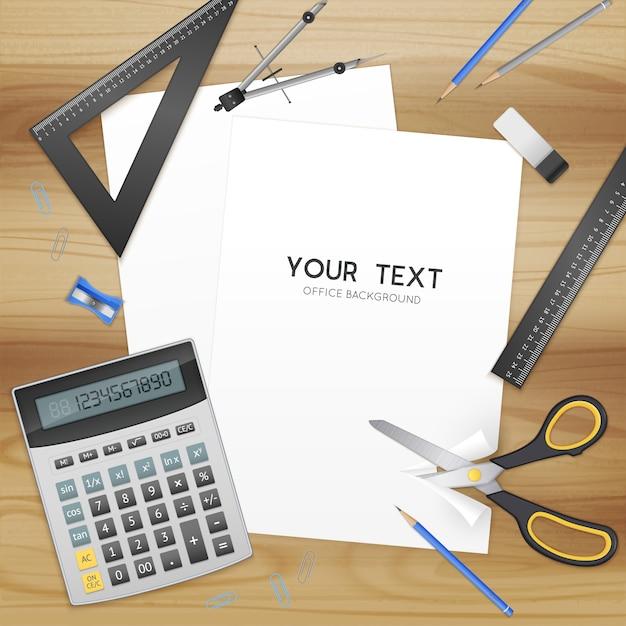 Accesorios de oficina y hoja de papel en blanco con plantilla de texto vector gratuito