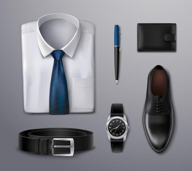 Accesorios de ropa de hombre de negocios vector gratuito