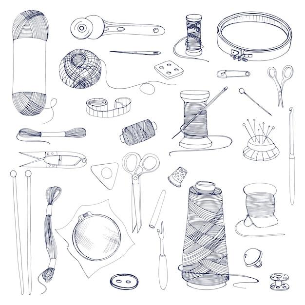 Accesorios para tejer y coser. Vector Premium