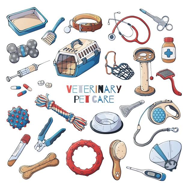 Accesorios veterinarios para el cuidado de gatos y perros. vector. Vector Premium