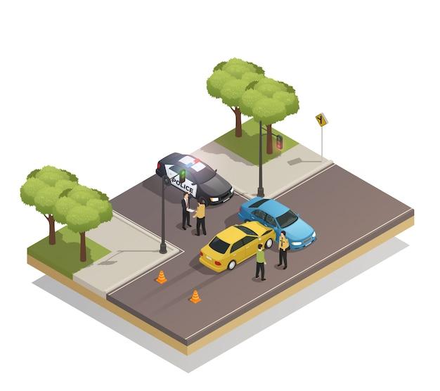 Accidente de colisión en carretera isométrico vector gratuito