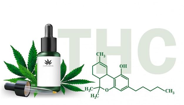 Aceite de cáñamo y hojas de cannabis aisladas. aceite de cannabis saludable, ilustración vectorial. Vector Premium