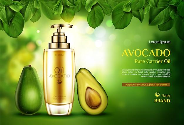 Aceite cosmético de aguacate. botella de producto orgánico con bomba en verde borrosa con hojas de árboles. vector gratuito