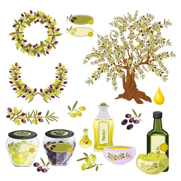 Aceite de oliva naturaleza alimentos orgánicos. Vector Premium