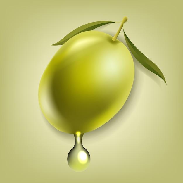 Aceitunas con hoja de fondo verde aislado Vector Premium