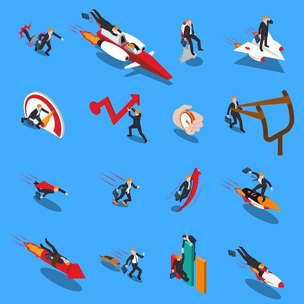 Acelerar los iconos isométricos de concepto de negocio vector gratuito