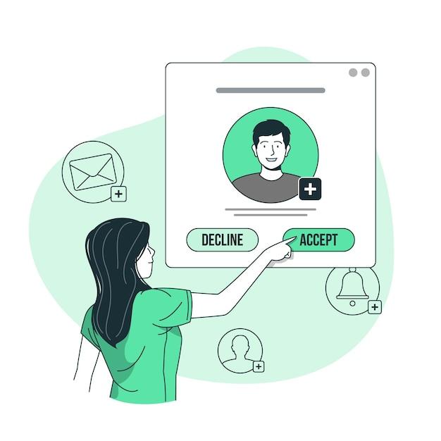 Aceptar la ilustración del concepto de solicitud vector gratuito