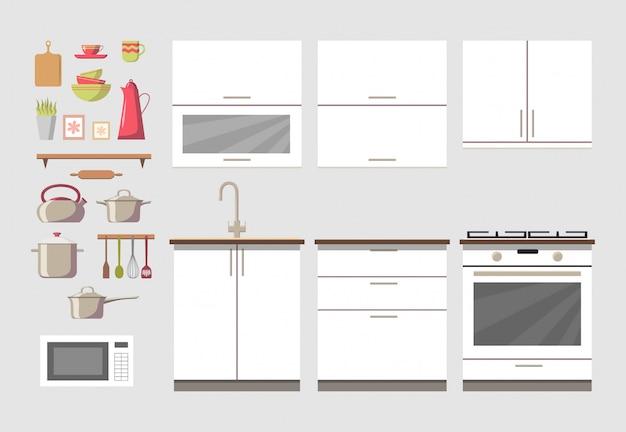 Acogedor interior de cocina Vector Premium