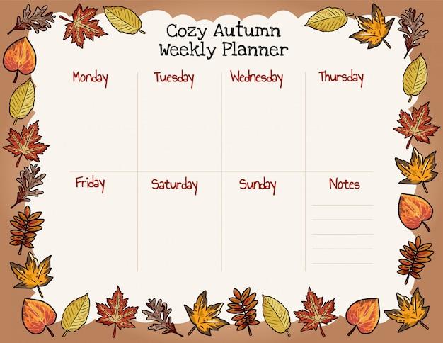 Acogedor planificador semanal de otoño y para hacer la lista con hojas de otoño ornamento. Vector Premium