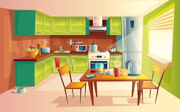 Acogedora cocina moderna con electrodomésticos, nevera, cocina, tostadora, microondas. vector gratuito