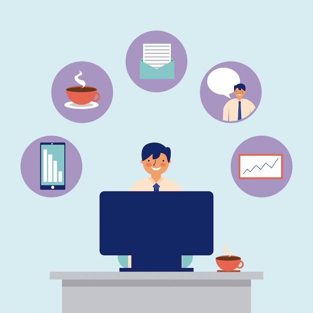 Actividad diaria computadora hombre trabajo de oficina vector gratuito
