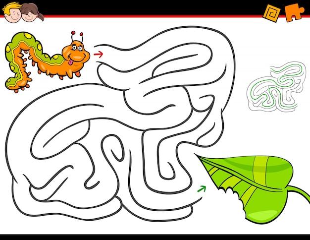 Actividad de laberinto de dibujos animados con oruga y hoja ...