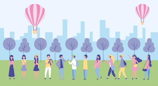 Actividades al aire libre de personas vector gratuito