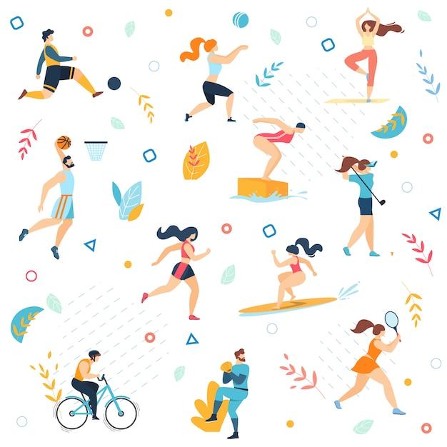 Actividades deportivas de verano de patrones sin fisuras. Vector Premium