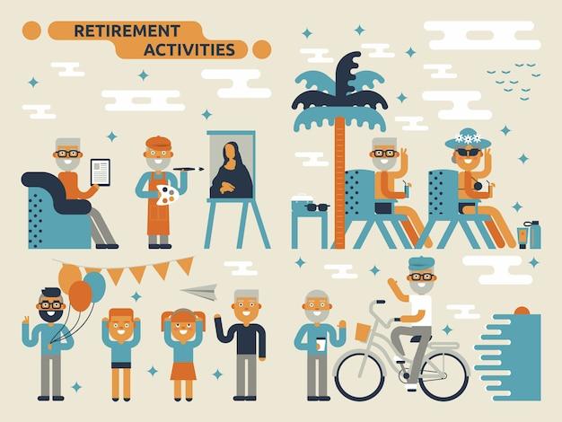 Actividades de jubilación Vector Premium