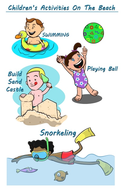 Las Actividades De Los Niños En La Playa De Dibujos Animados
