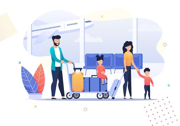 Actividades de viajes familiares de dibujos animados felices en el aeropuerto Vector Premium