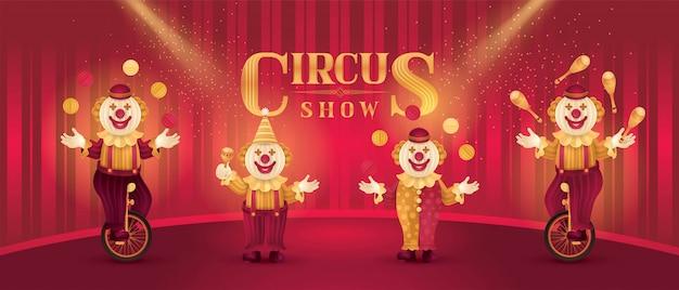 Actores de artistas de circo muestran conjunto, payasos divertidos nariz, traje de circo Vector Premium