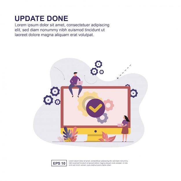 Actualización hecha concepto ilustración vectorial diseño plano para la presentación. Vector Premium