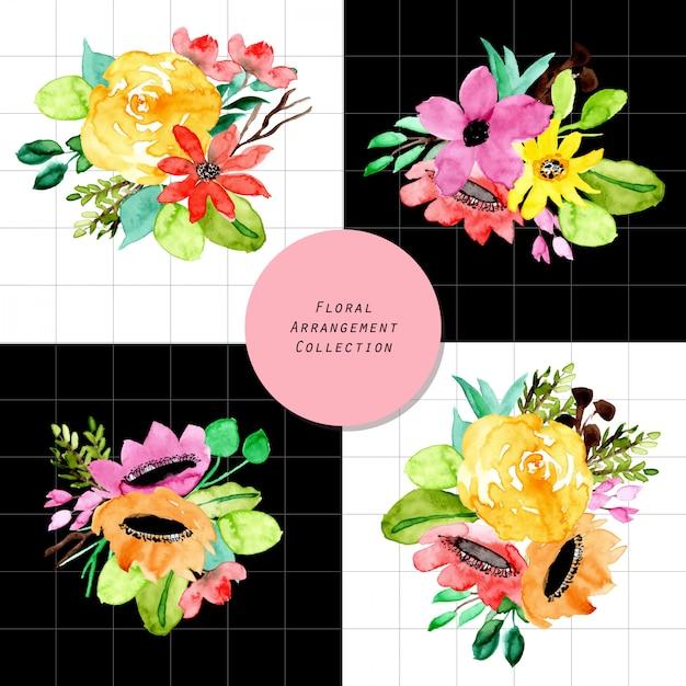 Acuarela De Arreglo Floral Tropical Descargar Vectores Premium