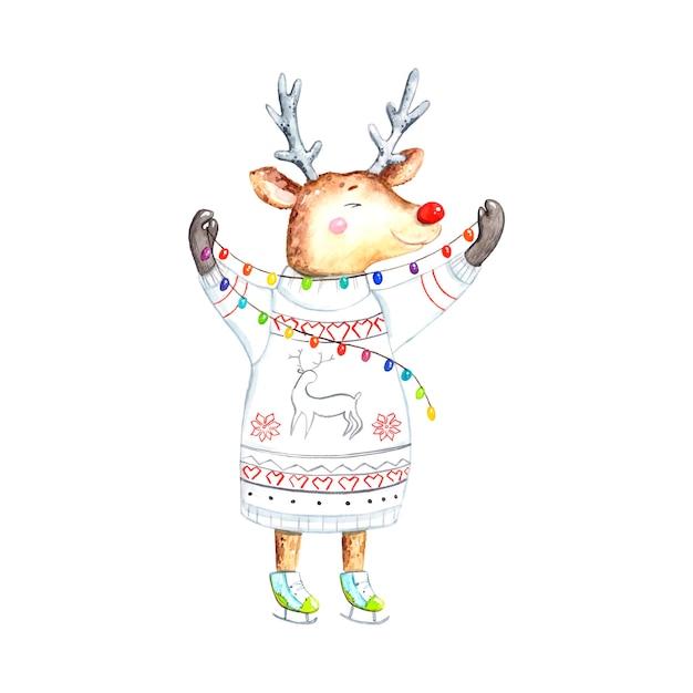 Acuarela de ciervos navideños Vector Premium