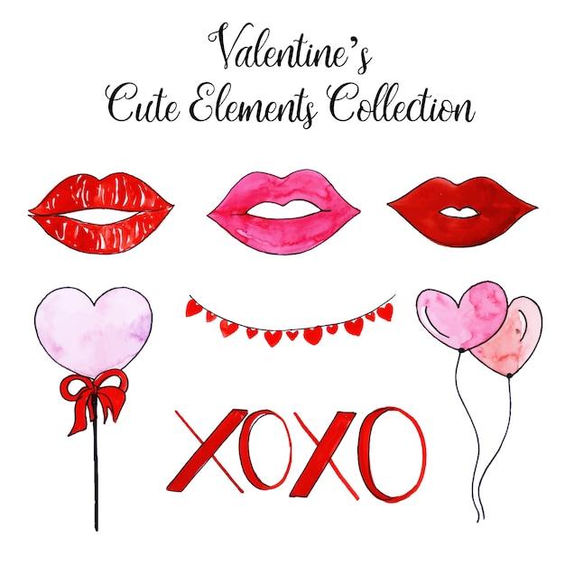 Acuarela colección de elementos lindos de san valentín Vector Premium