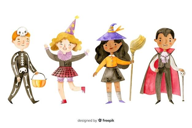 Acuarela colección de niños de halloween vector gratuito