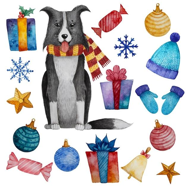 Acuarela conjunto de elementos de decoración de navidad y año nuevo. Vector Premium