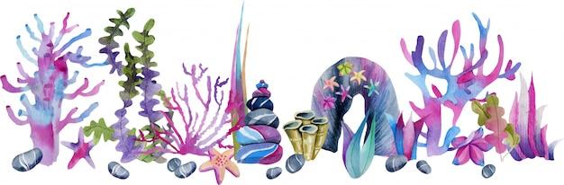 Acuarela de corales y piedras de mar ilustración Vector Premium
