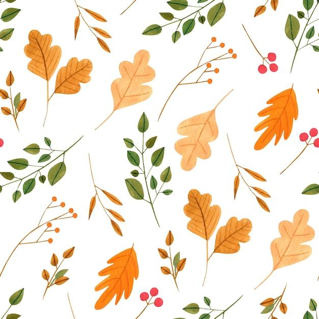 Acuarela de hojas de oto o y ramas de patrones sin fisuras - Descargar autumn leaves ...