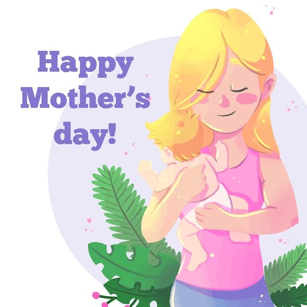 Acuarela del día de la madre con mujer y bebé vector gratuito