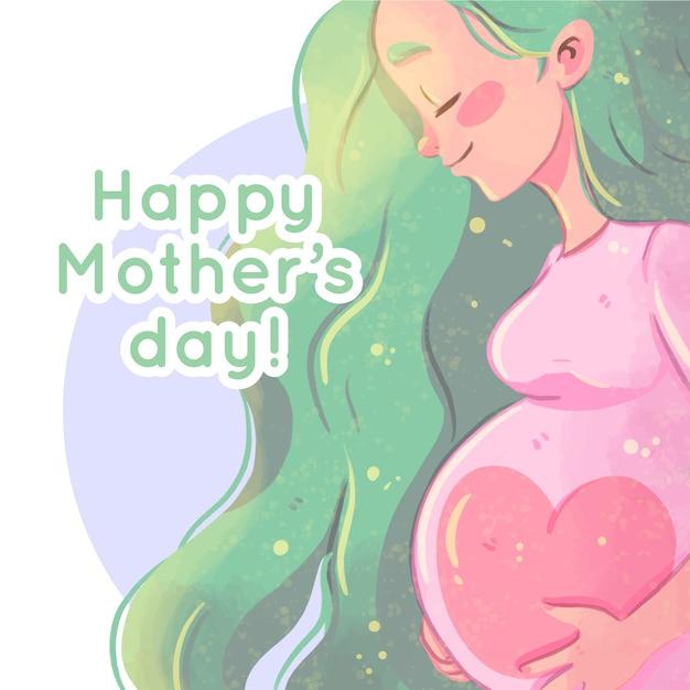 Acuarela del día de la madre con mujer embarazada vector gratuito