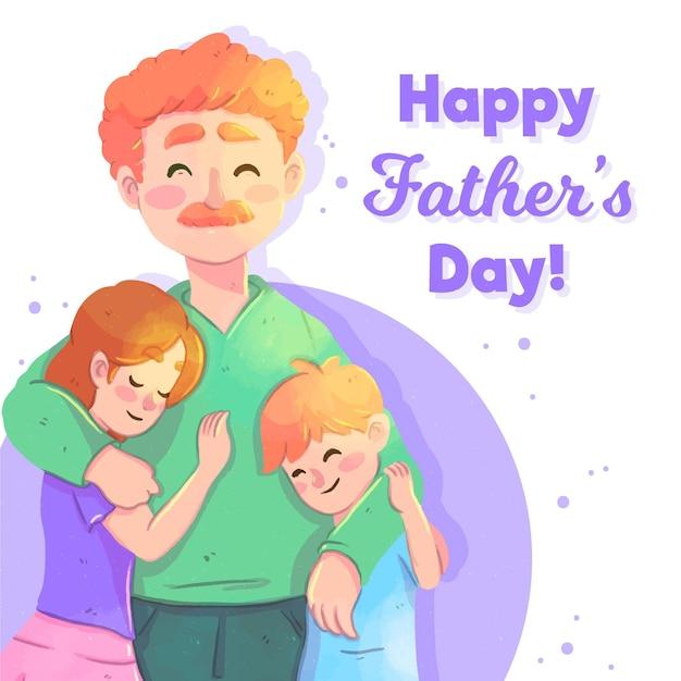 Acuarela del día del padre con papá e hijos vector gratuito