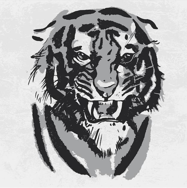 Acuarela dibujo de tigre mirando enojado. Vector Premium