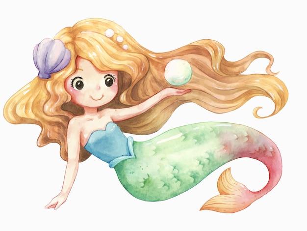 Acuarela de dibujos animados de personaje de sirena Vector Premium