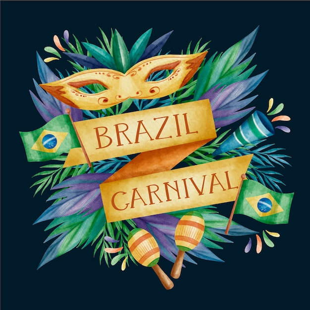Acuarela diseño de carnaval brasileño con cintas doradas vector gratuito