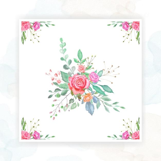 Acuarela diseño de tarjeta de boda Vector Premium