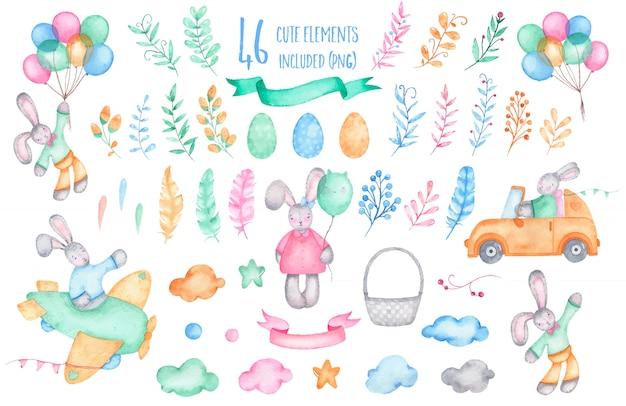 Acuarela feliz pascua colección conejo conejito con globos aerostáticos vector gratuito