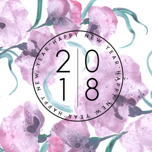 Acuarela Floral Año Nuevo 2018 Vector Gratis