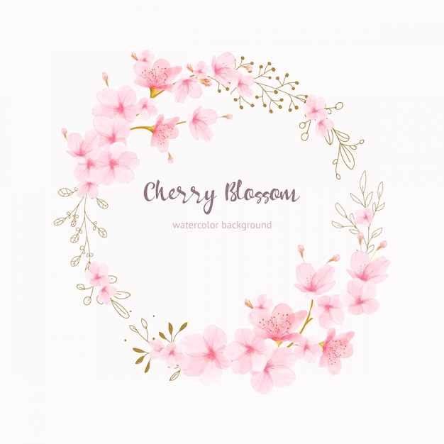 Acuarela floral cherry blossom marco vector Vector Premium
