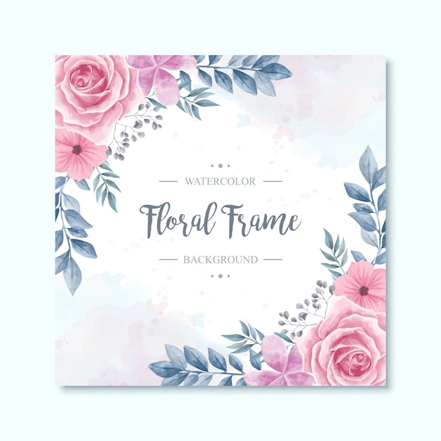 Acuarela floral flores marco de fondo Vector Premium