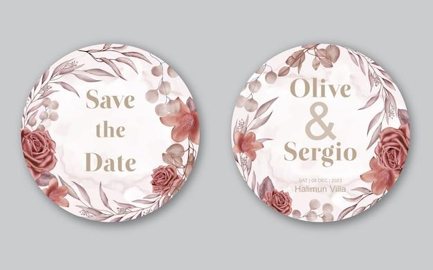 Acuarela flores marco flor tarjeta de invitación de boda Vector Premium