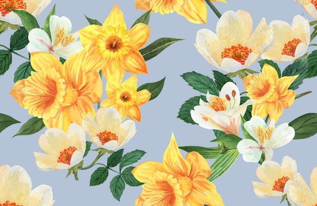 Acuarela de flores de patrón botánico, tarjeta de agradecimiento, ilustración de impresión textil vector gratuito