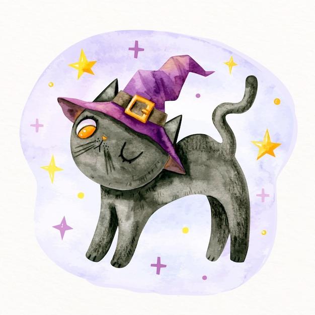 Acuarela gato de halloween vector gratuito