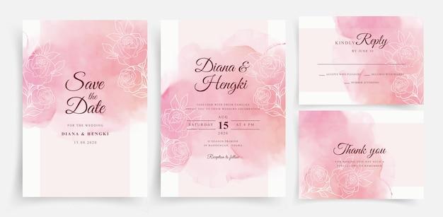 Acuarela hermosa tarjeta de boda con líneas florales Vector Premium